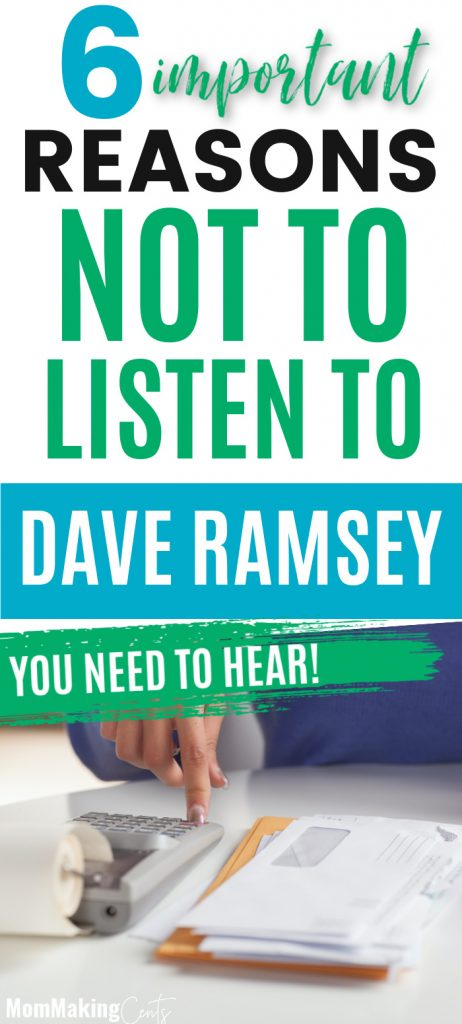 6 Reasons NOT to listen to Dave Ramsey's Advice. Dave Ramsey's Advice.